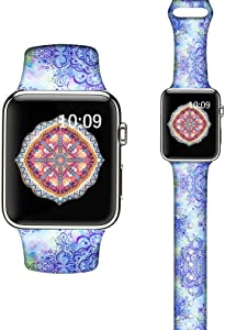 LAACO Silicone Sport Bands Compatible with Apple Watch 44mm for Women, Floral Sport Band, Cashew Flowers Fadeless Pattern Printed Replacement Strap Bands Compatible with iWatch 42mm Series 5 4 3 2 1