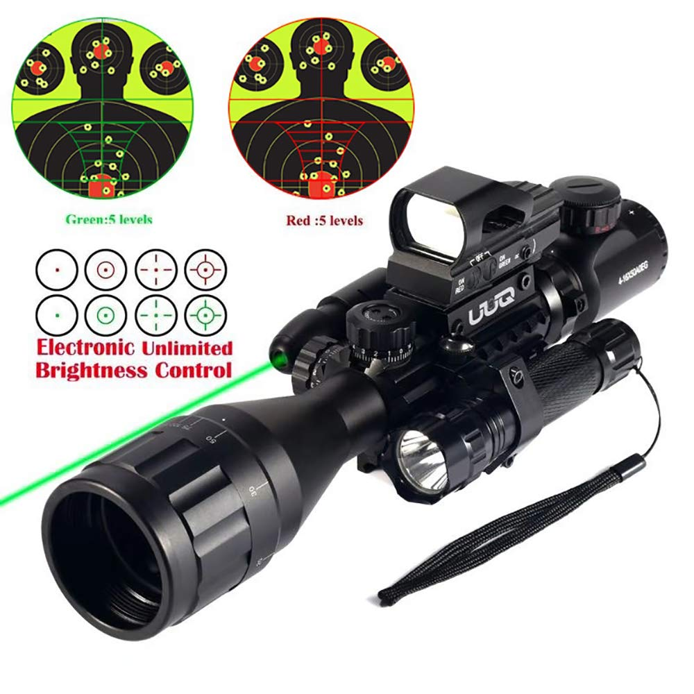UUQ 4-12X50 Rifle Scope Dual Illuminated Reticle W Green RED Laser Sight and 4 Tactical Holographic Dot Reflex Sight 12 Month Warranty 4-16X50AO Green Laser 104 Dot Sight FL