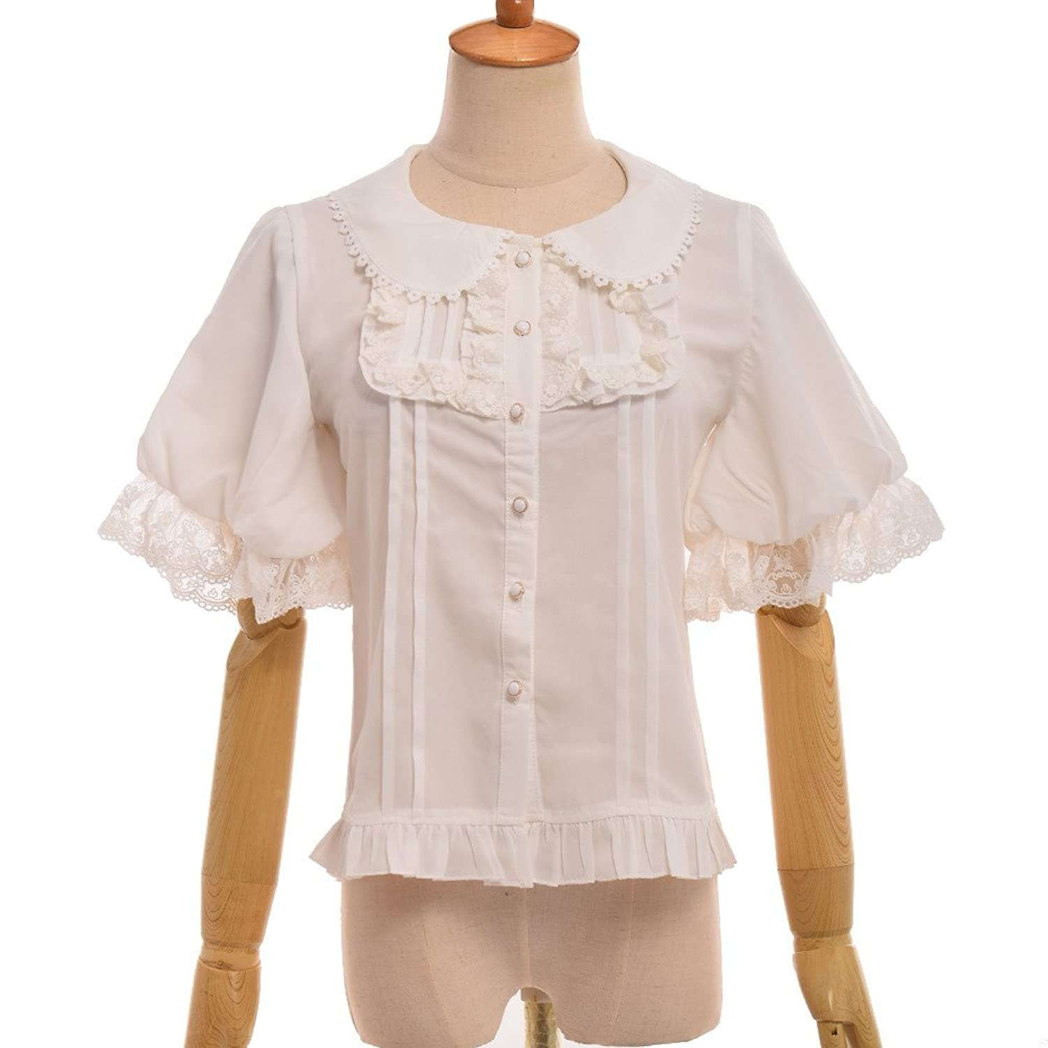 Edwardian Blouses |  Lace Blouses & Sweaters GRACEART Victorian Puff Sleeve Chiffon Shirt Blouse  AT vintagedancer.com