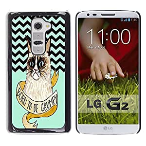 - Chevron Grumpy Cat - - Hard Plastic Protective Aluminum Back Case Skin Cover FOR LG G2 D802 Queen Pattern