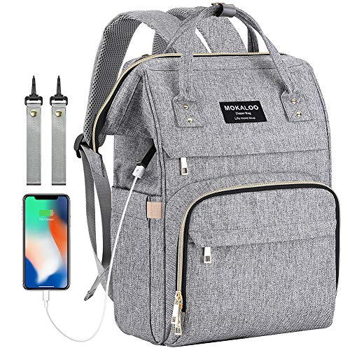 Diaper Bag Small - Large Diaper Bag Backpack, Mokaloo Anti-Water Maternity Nappy Bags Changing Bags with Insulated Pockets and Stroller Straps, Multi-functional Travel Back Pack Built-in USB Charging Port