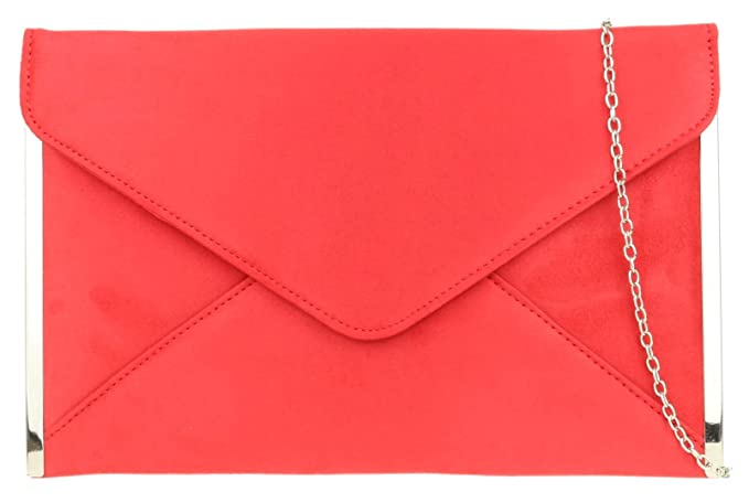 351f1f204a2 Girly Handbags Elegant Faux Suede Clutch Bag Envelope Plain Design Sides  Frame Wedding Prom - Red