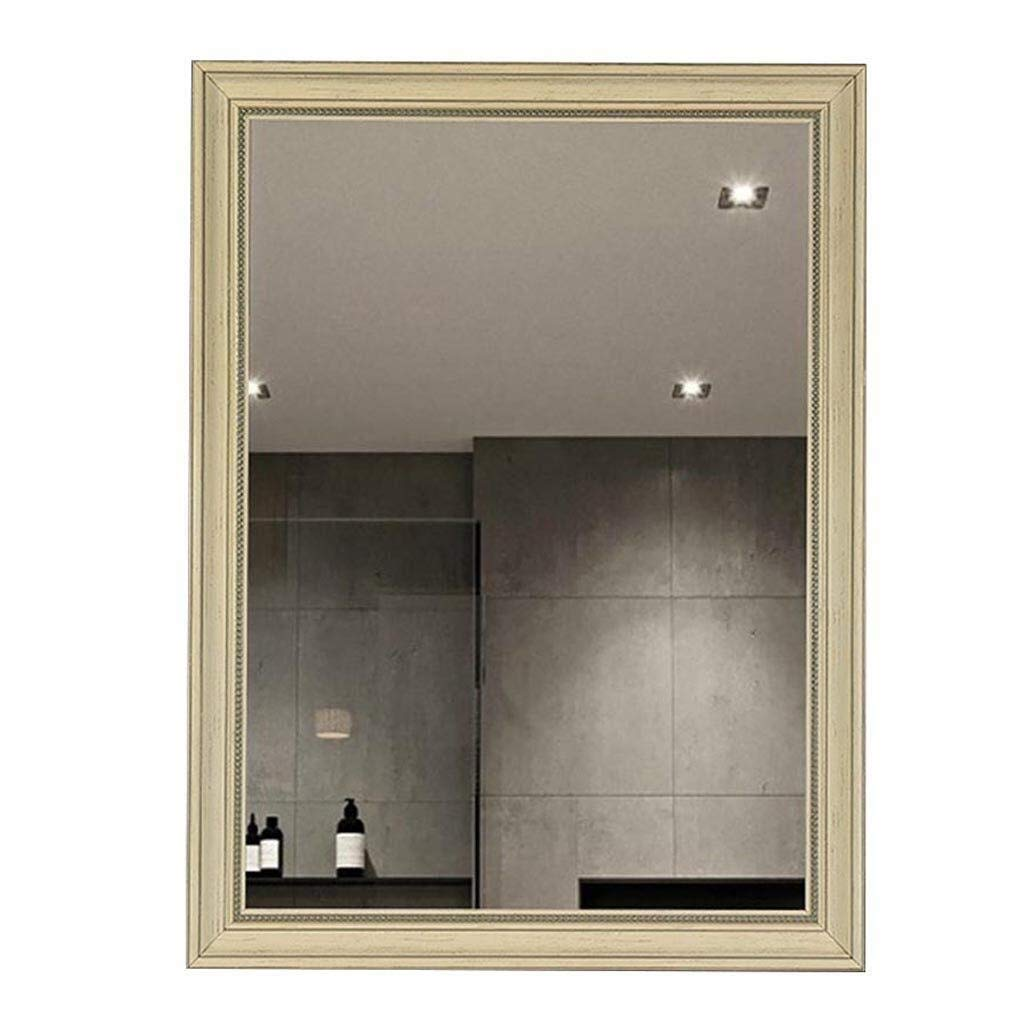 Beauty mirror Bathroom Mirror,Wall Vanity Mounted Make Up Mirror Modern Simple Rectangle Explosion Proof Frame Art Design Washroom Hotel Dressing mirror (Color : A, Size : 500mmX700mm) by Makeup Mirrors