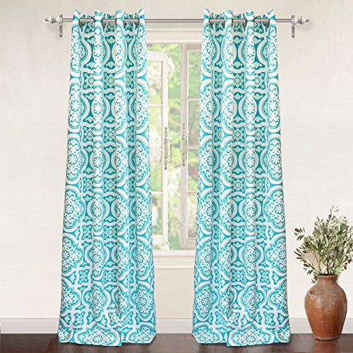"""DriftAway Floral Trellis Room Darkening/Thermal Insulated Grommet Unlined Window Curtains, Set of Two Panels, each 52""""x84"""" (Panel Floral Trellis)"""
