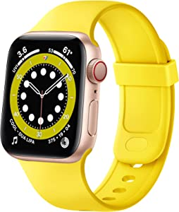 SVISVIPA Sport Bands Compatible with Apple Watch Bands 42mm 44mm, Soft Silicone Wristbands Women Men Replacement Strap for iWatch Series SE/6/5/4/3/2/1,Yellow