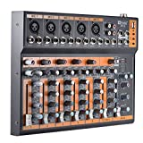 ammoon 7-Channel Mic Line Audio Mixer Mixing Console 3-band EQ USB Interface 48V Phantom Power with Power Adapter