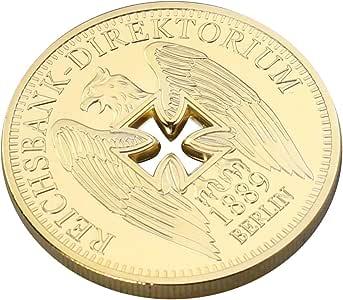 Amosfun Monedas conmemorativas chapadas en Oro del Banco Imperial Alemán Colgantes de Monedas del Desafío del Águila de la Cruz de Alemania: Amazon.es: Hogar