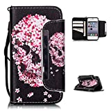 iPhone 5C Case,iPhone 5C Wallet Case,Kmety(TM) for iPhone 5C PU Leather 2in1 Case Flip Folio Magnetic Design[Built-in Credit Card Slots]with Painted Petals Skull Pattern