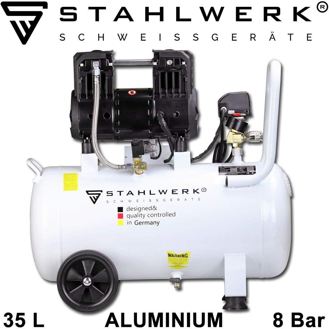 STAHLWERK ST 358 pro - Compresor de aire a presión (caldera de 35 L, 8 bar, sin aceite, 140 L/min, muy silencioso, compacto, 5 años de garantía), color blanco