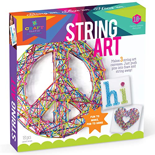 Art Craft Ideas (Craft-tastic - String Art Kit - Craft Kit Makes 3 Large String Art Canvases - Peace Sign)