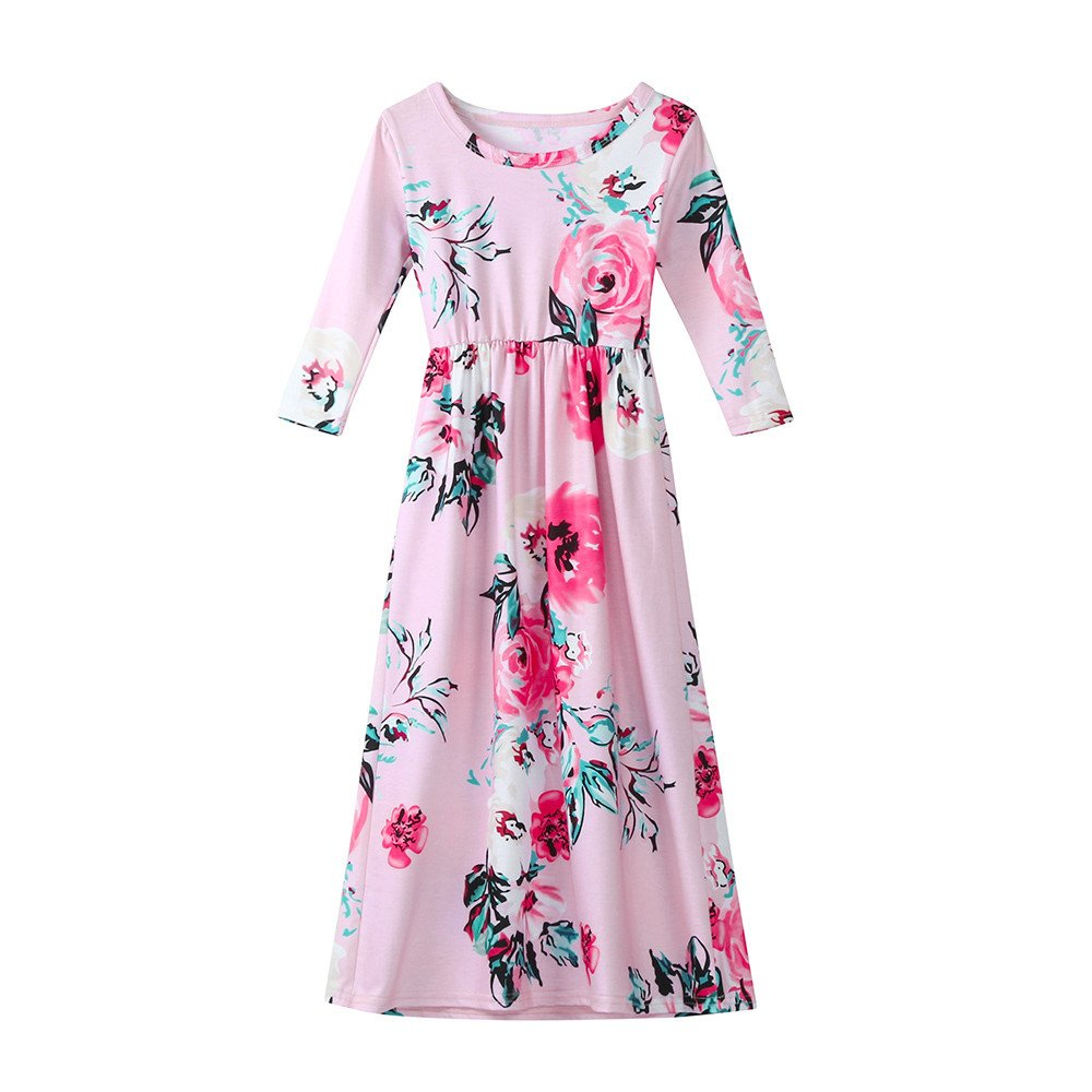 Girls Flower Print Dress 3/4 Sleeve Pleated Casual Swing Long Maxi Dress with Pockets Summer Spring Dresses 2-5Y (Pink, 2T (1-2 Years)) by Cealu (Image #1)