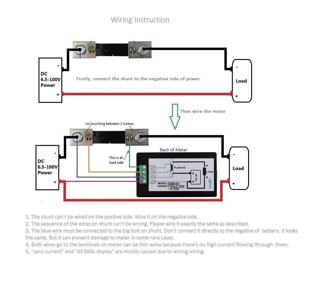 Dc Digital Lcd Voltmeter 65 100v 100a Chitronic Current Voltage Shunt Wiring Diagram Power Energy Watt Meter Multimeter Ammeter With 75mv Amazon