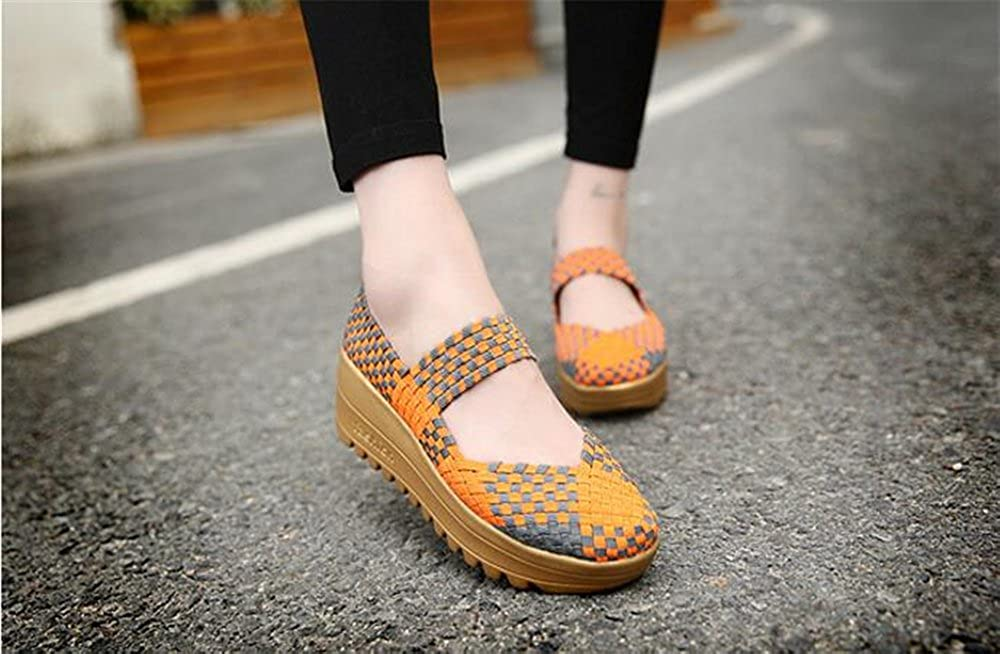 excellent.c Platform Shoes Sneakers Womens Shoes Woven Rocking Shoes Casual Loafers