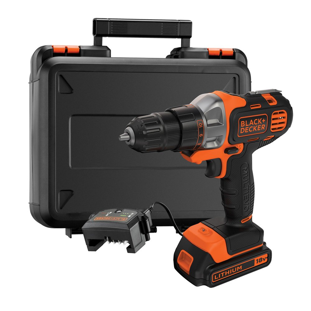 BLACK+DECKER 18V Multievo Multi Tool with Drill Driver Attachment with 1.5Ah Lithium Ion Battery Black + Decker MT218K-GB