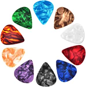 30 Pcs Guitar Picks Variety, Colroful Premium Celluloid Picks for Acoustic Electric Guitars Bass or Ukulele,with Different Sizes Contain Thin, Medium & Thick Gauges