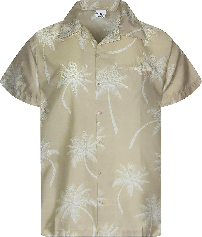 Camisa Hawaiana enrrollada | Hombres | XS-6XL | Manga Corta | Bolsillo Frontal | Hawaiano-Imprimir | Palmshadow
