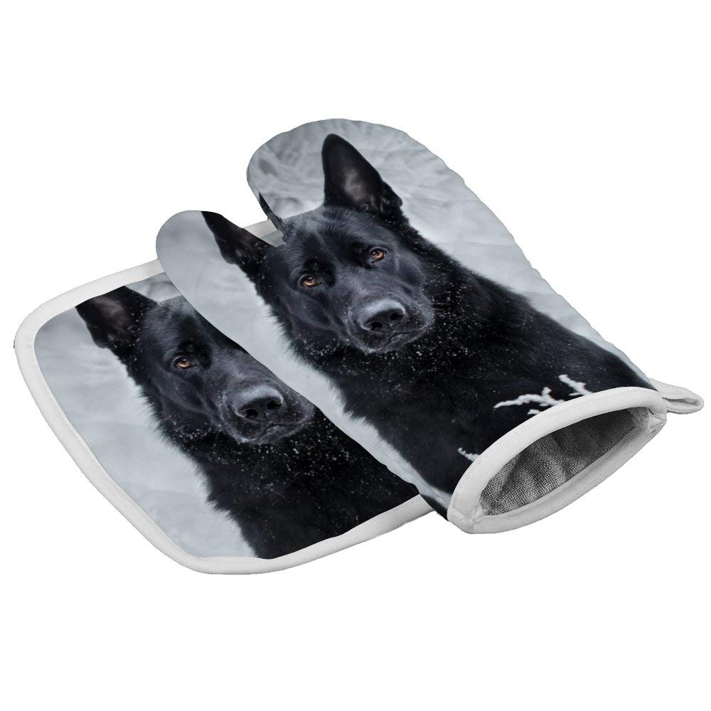 July-Seven German Shepherd Portrait1 Oven Mitts,Professional Heat Resistant Microwave BBQ Oven Insulation Thickening Cotton Gloves Baking Pot Mitts with Soft Inner Lining