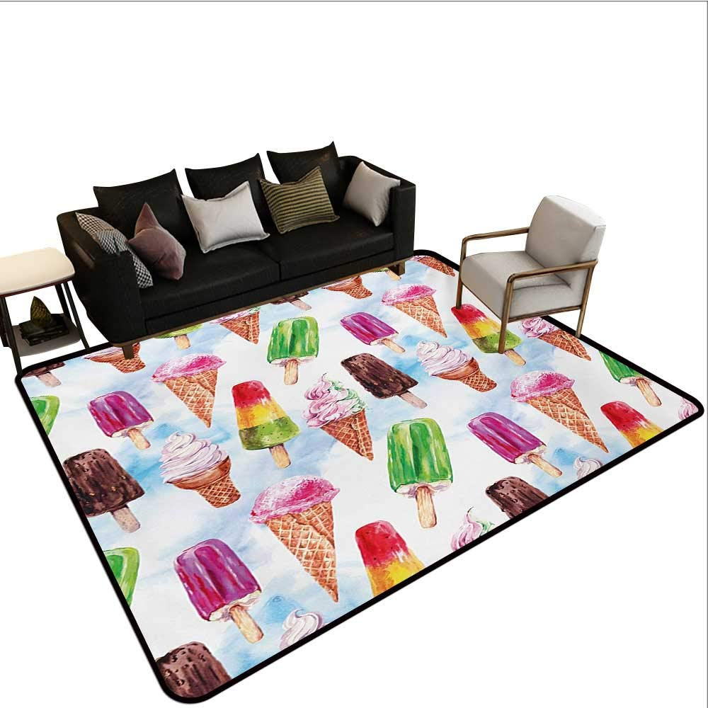 Household Decorative Floor mat,Surreal Exotic Type Ice Cream Motif with Raspberry Kiwi Flavor Colorful Display 6'6''x8',Can be Used for Floor Decoration