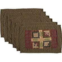 VHC Brands Tea Cabin Placemat Quilted Set of 6 12x18