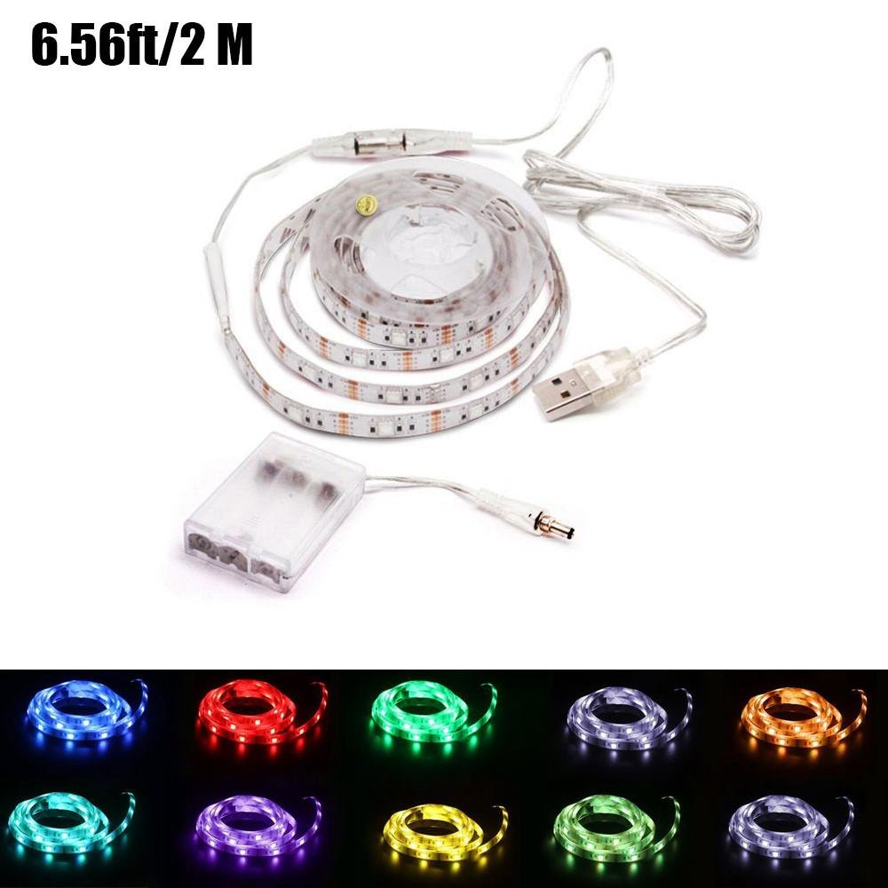 FOONEE Battery Operated USB LED TV Light Strip, 2m/6.56ft TV Backlight Bias Lighting Kits with 20 Colors and 19 Dynamic Mode for HDTV Flat Screen TV PC