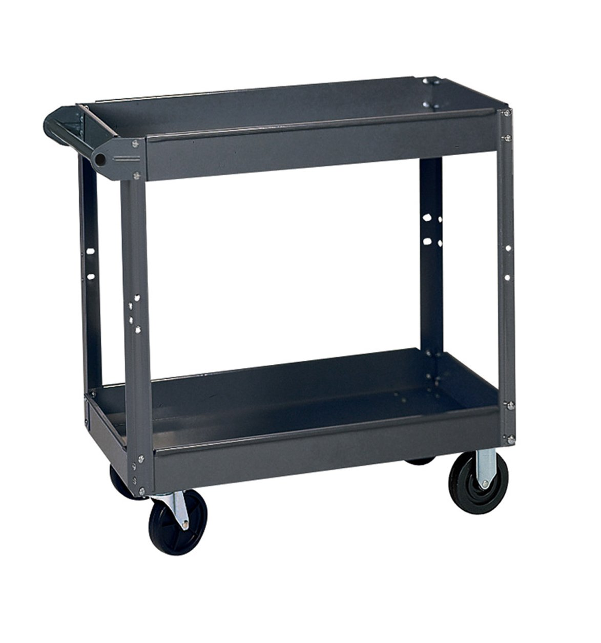 Edsal SC6000 Heavy Duty Industrial Gray Service Cart with Polypropylene Casters, 2 Shelves made of 18 Gauge Steel, 800 lb. Capacity, 32'' Height x 24'' Width x 36'' Depth