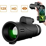 Monocular Telescope, 12X50 High Power Monocular, Dual Focus Optics Scope and Quick Smartphone Holder, Waterproof Fog- Proof Shockproof Scope, BAK4 Prism FMC for Bird Watching Hunting Camping Travellin