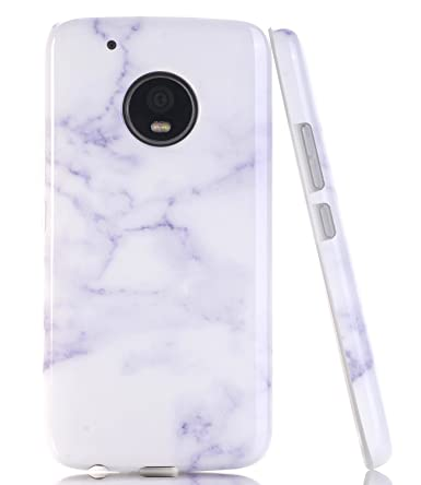 newest collection eba90 4436b Moto G5 Plus Case, Moto G Plus (5th Generation) Marble BAISRKE Slim  Flexible Soft Silicone Bumper Shockproof Gel TPU Rubber Glossy Skin Cover  Case for ...
