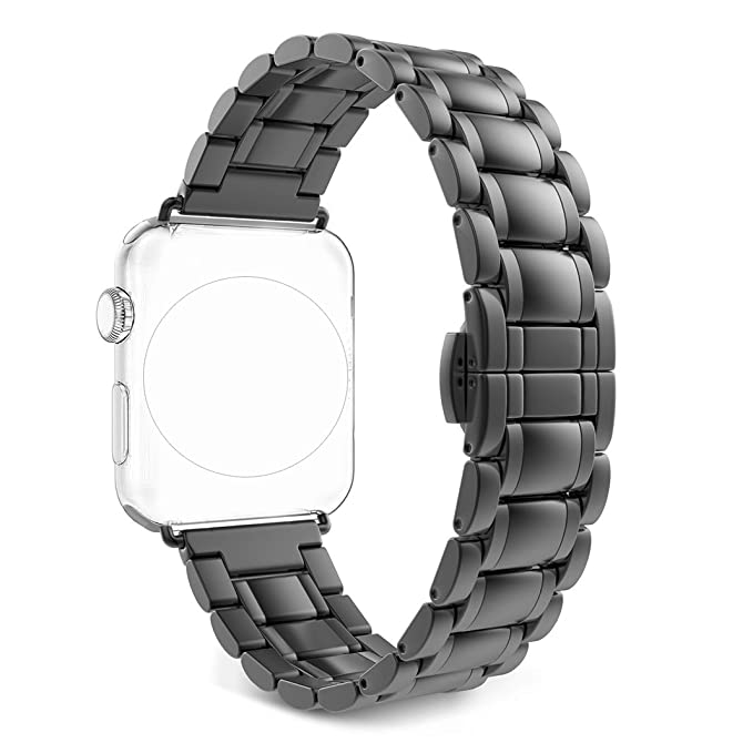 for Apple iWatch Series 3 Band 42mm, Rosa Schleife Apple Watch Band Stainless Steel Smart Watch Replacement Bands with Metal Clasp Buckle Strap ...