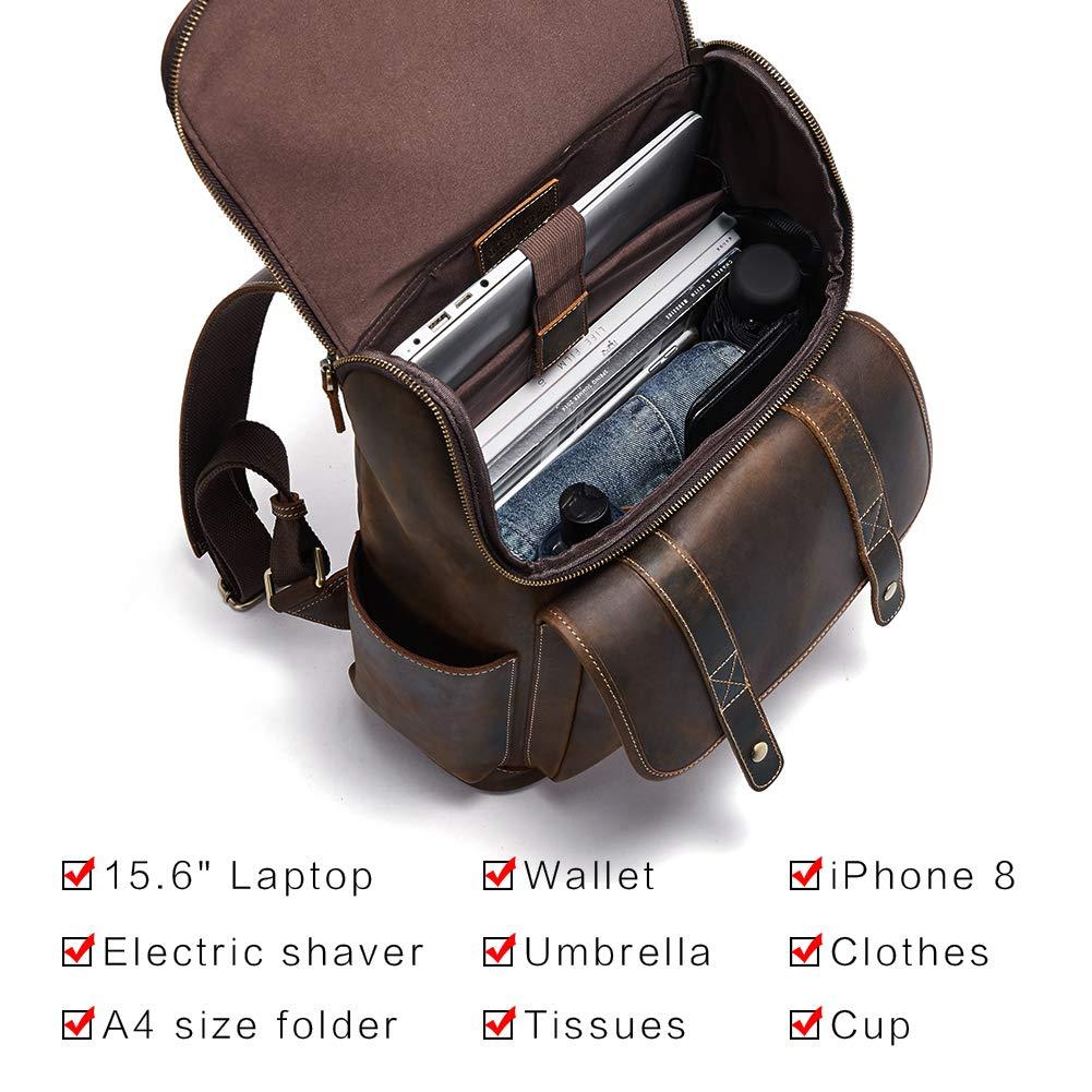 BOSTANTEN Leather Backpack 15.6 inch Laptop Backpack Vintage Travel Office Bag Large Capacity School Shoulder Bag by BOSTANTEN (Image #5)