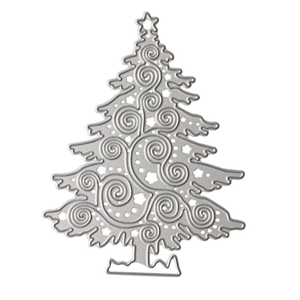 Zmigrapddn da taglio, albero di Natale metallo goffratura stencil per cartoline, taglio die metal stencil, stampo per DIY carta scrapbook album goffratura Craft, Acciaio al carbonio, Silver, 8.2cm x 10.5cm