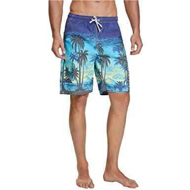 c961c2fc32 nuosife Men's Bathing Suit Coconut Palm Printed Swim Trunks Beach Swimwear  Swimsuit