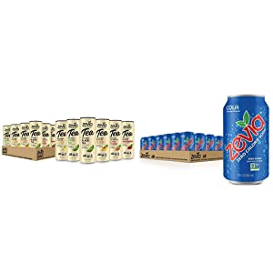 Zevia Organic Tea Time Variety Pack, 12 Count, Sugar-Free Brewed Iced Tea Beverage & Zero Calorie Soda, Cola, Naturally Sweetened Soda, (24) 12 Ounce Cans; Cola-flavored Carbonated Soda