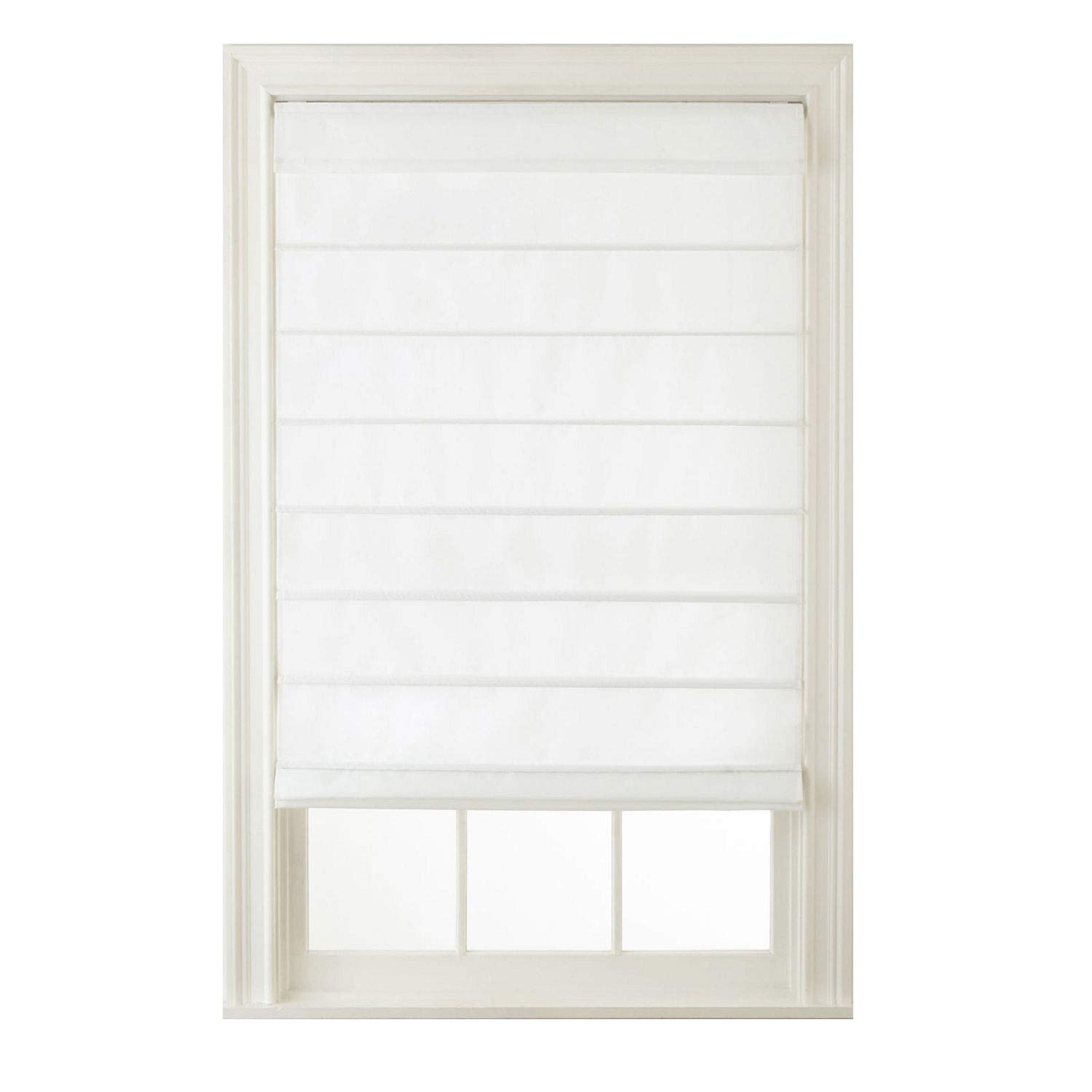 Window Blind Store Cordless Hanna Roman Shade White 31x64 by Window Blind Store