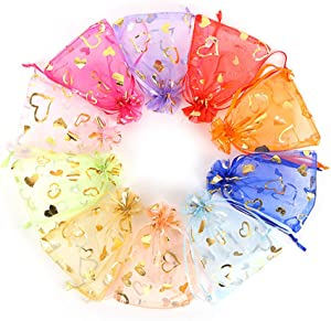 Outdoorfly 100PCS Organza Bag 4x6 with Drawstring Mesh Jewelry Gift Pouch Favor Bags Bulk for Wedding Party Baby Shower(Mixed Heart)