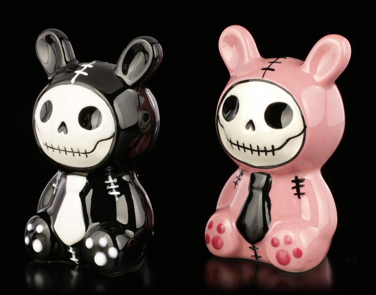 handbemalt Furry-Bones Salz- und Pfeffer-Streuer-Set Bun-Bun pink Deko-Artikel H 9 cm Keramik