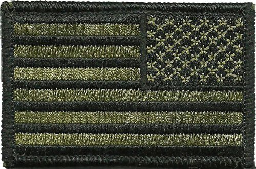 Tactical Reverse USA Flag Patch - Olive Drab