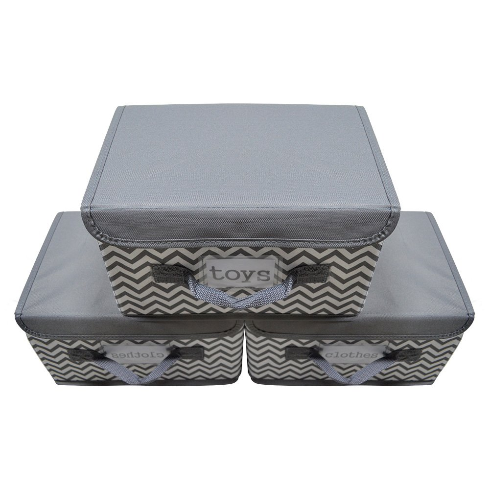 Kruideey Foldable Storage Box for Toy Storage Fabric Storage Bin Polyester Gift Basket Storage Works Storage Cube Box with Lid,3-Pack (Grey ) by Kruideey