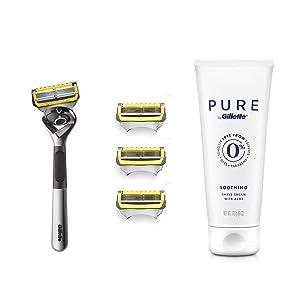 Gillette Fusion Proshield Shave Gift Set for Men, 4 Fusion Proshield Blade Refills, 1 Razor Handle, 1 PURE 6oz Shave Cream