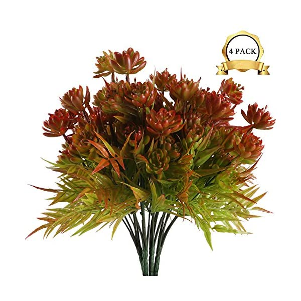 XYXCMOR-4pcs-Artificial-Flowers-Plants-Fake-Succulent-Bushes-Faux-Shrubs-Plastic-Bamboo-Leaves-Indoor-Outdoor-Wedding-Table-Centerpieces-Home-Kitchen-Garden-Bookshelf-Potted-Decoration