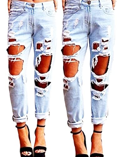 SEXYWG Women Destroyed Hole Boyfriend Jeans Ripped Washed Denim Trousers