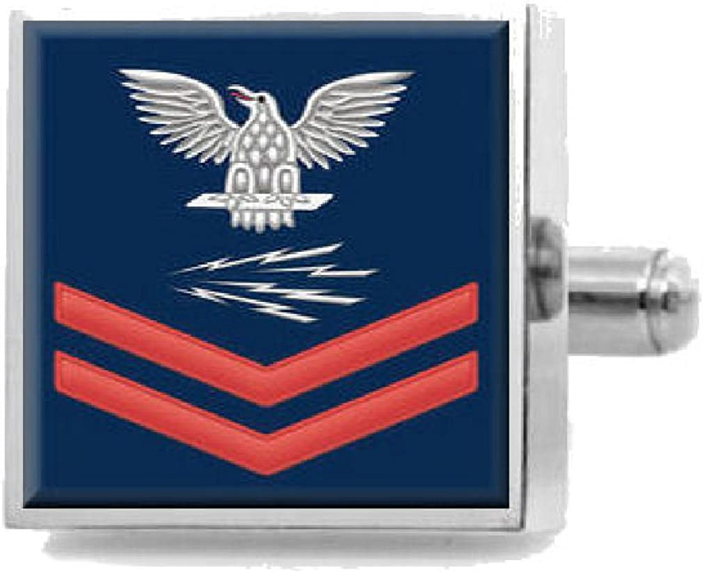 Select Gifts Sterling Engraved Cufflinks U.S Navy Red E-5 Radioman RM
