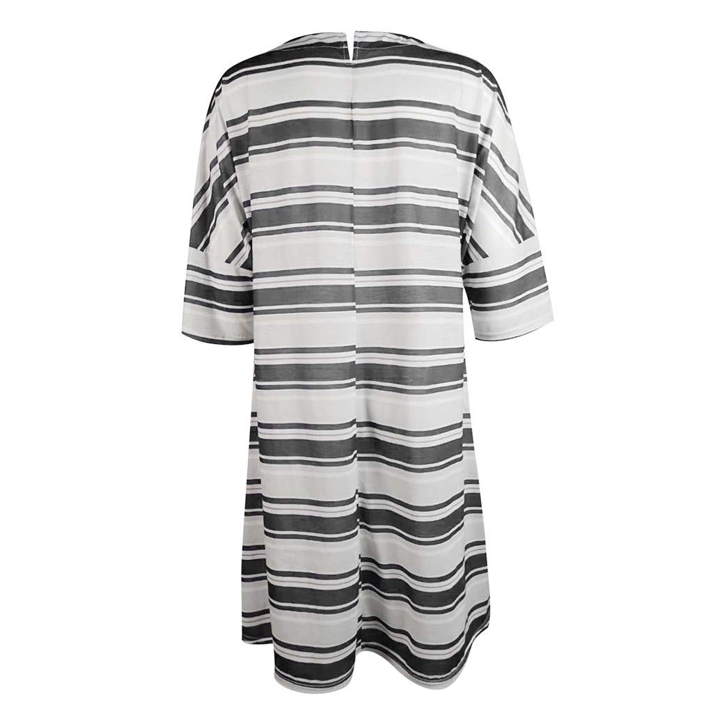 Nadition Lady Baggy Dress Womens Summer Round Neck Striped Printed Patchwork Short Sleeve Loose Dress Party Dress