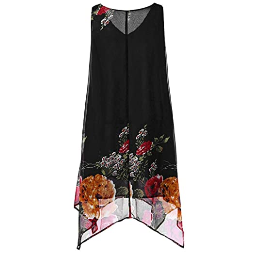 2b50136b176f8 Auwer Women s Summer Dresses Plus Size V-Neck Floral Handkerchief Chiffon  Dress Sleeveless V-