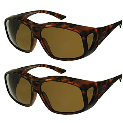 05525e25dee30 Men and Women Unisex Polarized Fit Over Sunglasses - Wear Over Prescription  Glasses. Size Large. (2 Pair) Tortoise (2 Carrying Case Included)
