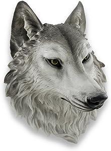 Things2Die4 `Remus` Gray Wolf Head Mount Wall Statue Bust 16 in.