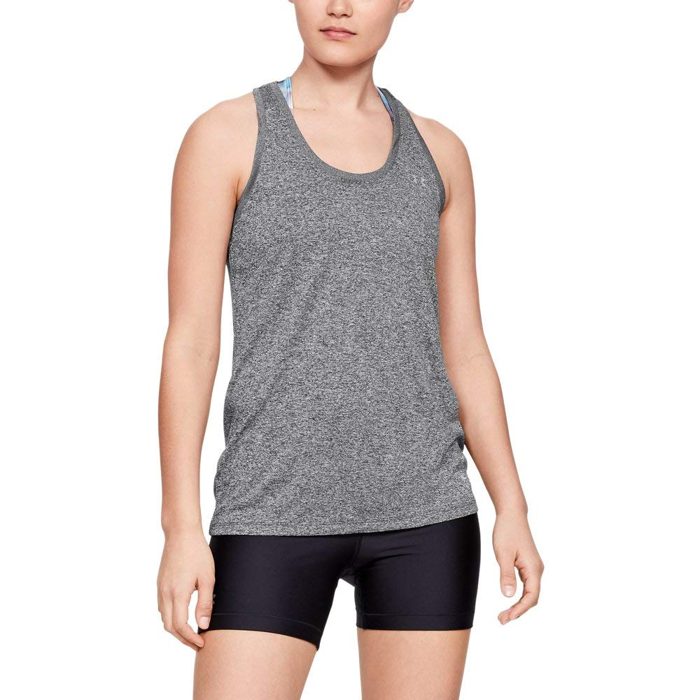 Under Armour womens Tech Solid Tank Top, Carbon Heather (090)/Metallic Silver, X-Small