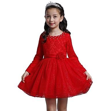 c9de7126ef Amazon.com: KINDOYO Girls Kids Children Princess Dresses Party Wedding  Sequins Yarn Skirt Elegant Performance Dance Costumes: Clothing