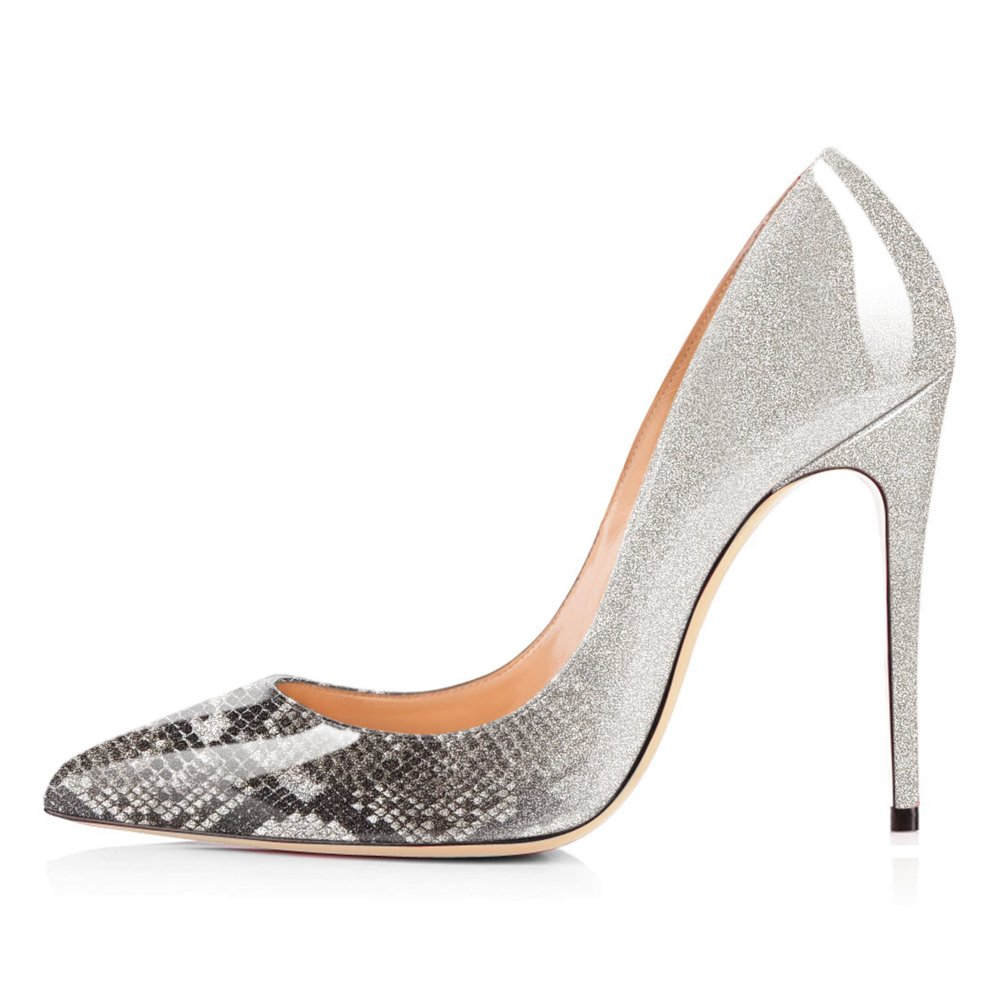 Grey Snake to Glitter UMEXI Women Pointed Toe High Heels Slip on Stilettos Wedding Party Dress shoes Plus Size Pumps