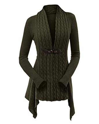 ecdc28b8dc KENANCY Womens Cable Knit Buckle Asymmetrical Long Cardigan V-Neck Open  Front Sweater(Army