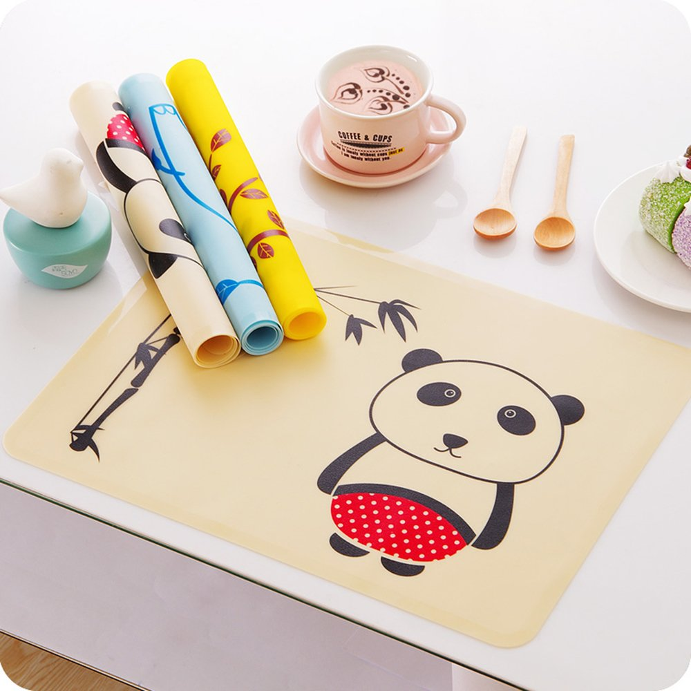 INCHANT Cute Animal Panda design Children Baby Toddlers Waterproof Soft Silicone Placemats, Kids Reusable skidproof Roll Up Lunch Supper Table Place Mat Feeding placemat,Easily Wipes Clean, Keep Stains Off,BPA-Free Ecreate M016
